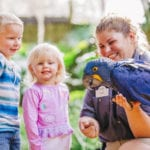 children meeting macaw at zootampa