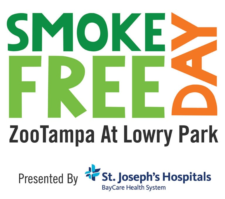Wordmark for Smoke-Free Day at ZooTampa at Lowry Park, Presented by St Josephs Hospitals