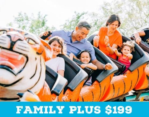 A photo of the a family riding a roller coaster at ZooTampa, and text that shows the price for a Family Plus ZooTampa Membership is $199