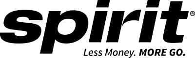 Spirit Airlines Logo with the tagline: Less Money, More Go.