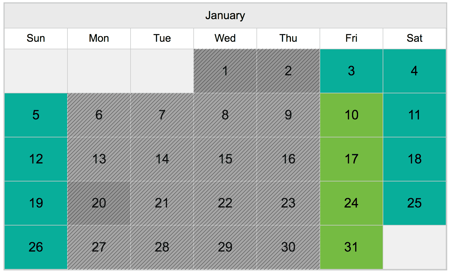 A calendar that shows pricing for Koala Signature Encounters at ZooTampa on each day during December 2019