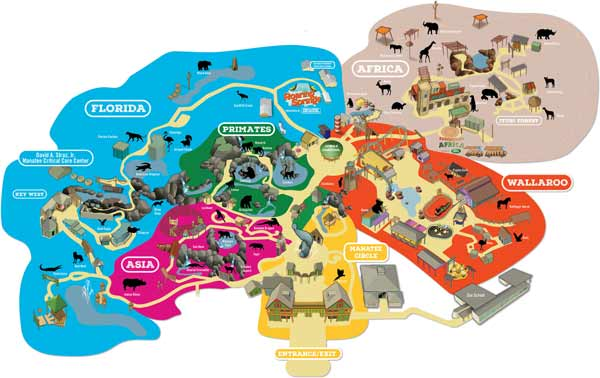 Scaled down version of the map of ZooTampa