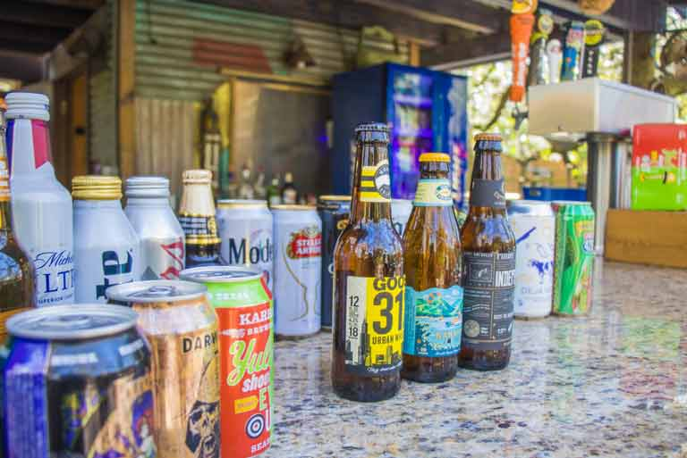 Many varieties of beer and wine served at our outdoor beer and wine garden