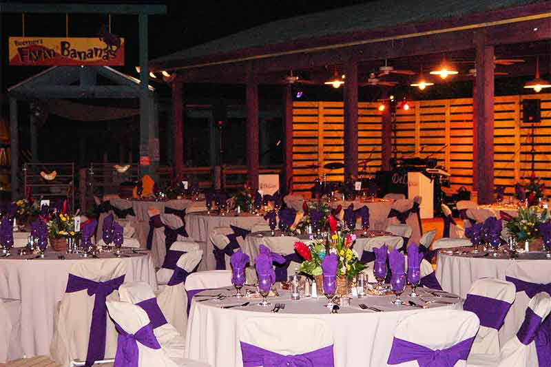 Outdoor table settings at night at the Zoo