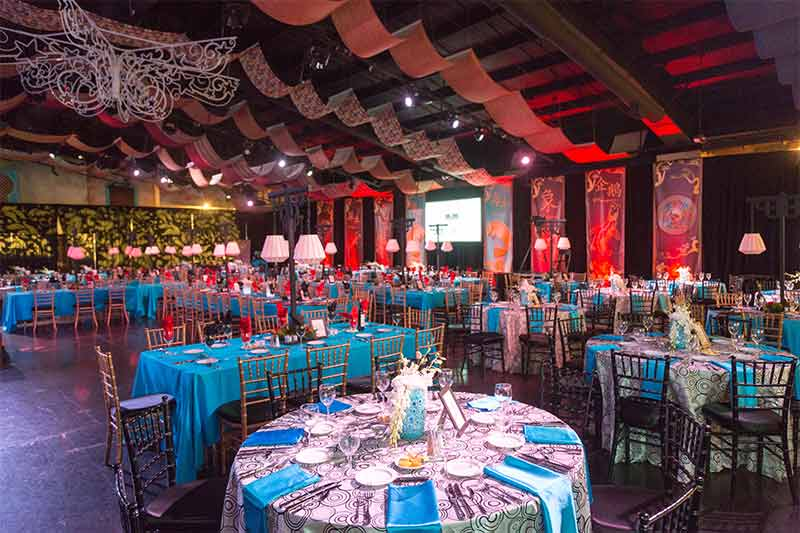 Extravagant and colorful event decorations at the Zoo for a private event
