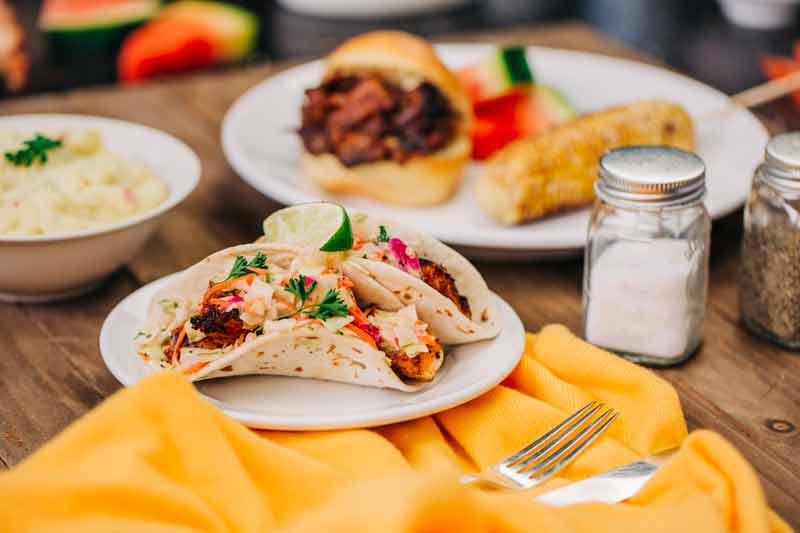 Tacos and BBQ at Notes of Flavor Food Court