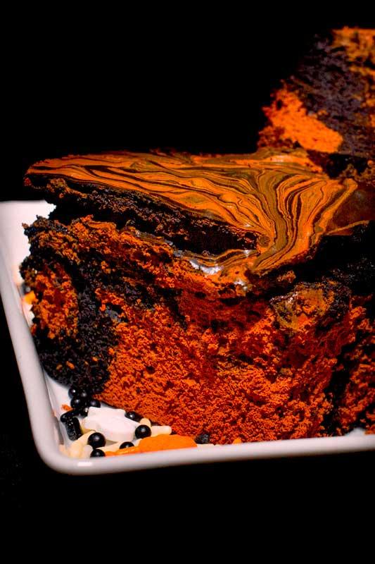Orange and black creepy halloween brownie cake